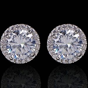 Jewelry - White Gold Plated Crystal Zicron Stud Earrings